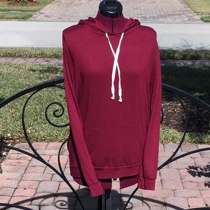 EXPRESS ONE ELEVEN Burgundy Hooded Top - Sz S